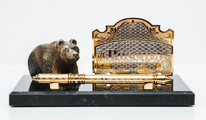 письменный набор с медведем